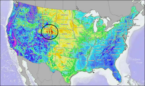 The dark orange over Wyoming means intense wind speeds of over 8 meters per second