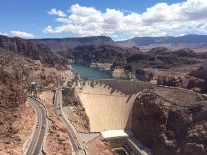Boulder Dam featuring low lake levels.