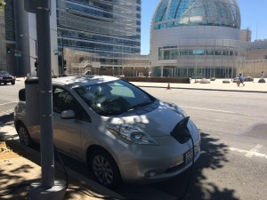 My Nissan LEAF charging in front of San Jose City Hall
